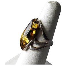 Modernist Sterling & Amber Ring