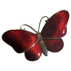 Norway Sterling & Red Enamel Butterfly Pin