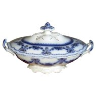 "English Flow Blue Johnson Bros. ""Glenwood"" Covered Vegetable Dish"