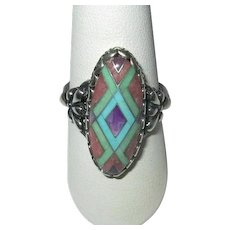 Native American Sterling Turquoise Channel-Inlay Ring
