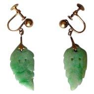 14K Screw-Back Earrings with Carved Jade Leaves