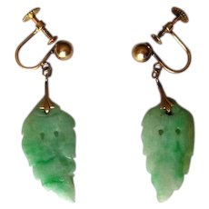 14K Screw-Back Earrings with Carved Jade Leaves
