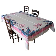 Vintage Linen Tablecloth with Blue Gladiolus
