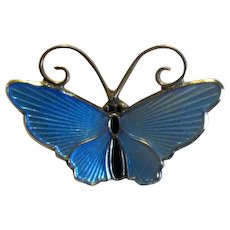 D-A David Andersen Blue Enamel Butterfly Pin