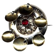 Norway Solje Wedding Brooch with Red Stone