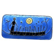 D-A Norway Sterling & Enamel Rock Carving Brooch