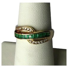 14K Modernist Band Ring with Emeralds and Diamonds