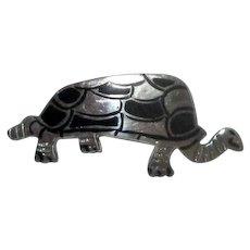 Sterling & Black Enamel Tortoise Pin