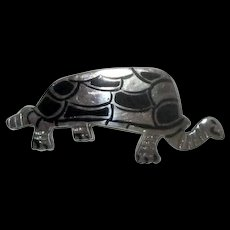 Sterling & Black Enamel Tortoise Pin