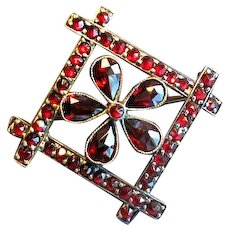 Rose Gold-Filled Victorian Garnet Pin with Flower