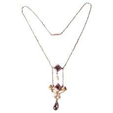 Antique Art Nouveau Costume Pendant Necklace with Baroque Pearl