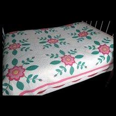 """Vintage Hand-Made """"Rose of Sharon"""" Appliqued Quilt"""