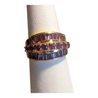 14K Ring with Three Rows of Amethysts