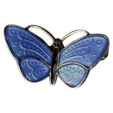 Small Blue Enamel on Sterling Norway Butterfly Pin