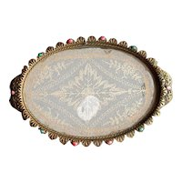 Jeweled Brass Vanity Tray with Lace Insert