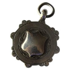 English Silver Watch Fob Pendant with Shields
