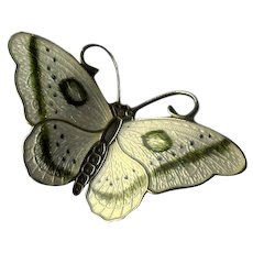 "Norway Sterling Silver & White Enamel ""HP"" Butterfly Pin"
