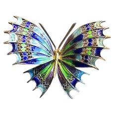 800 Silver Filigree Plique a Jour Enamel Butterfly Pin