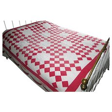 "Red & White Vintage Patchwork ""Nine-Patch"" Quilt"