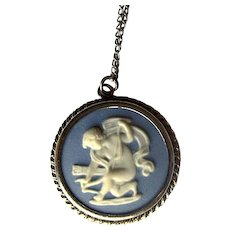 "Costume Wedgwood Pendant with 16"" Chain"
