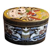 Oval Brass Cloisonne Box with Happy Grandfather and Baby