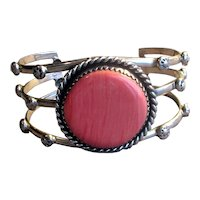 Native American Silver Cuff Bracelet with Spiny Oyster