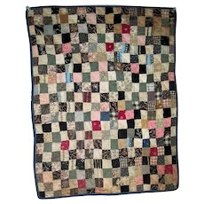 "Small hand-Made Antique Patchwork ""One-Patch"" Quilt"