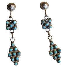Vintage Signed Sterling and Turquoise Drop Earrings