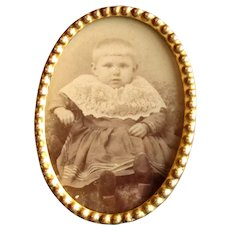 Small Oval Brass Tabletop Picture Frame
