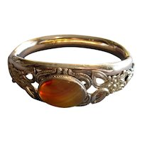 Fancy Victorian Gold-Filled Bangle Bracelet with Agate