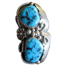Native American Ring with Two Turquoise Stones