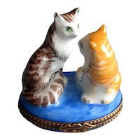 Hand-Painted Limoges Ceramic Box with Two Cats