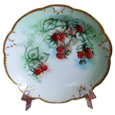 Hand-Decorated Limoges Plate with Raspberries