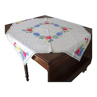 Hand-Appliqued Tablecloth with Colorful Fruit
