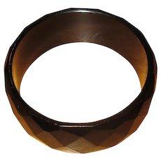 Vintage Black Faceted Vulcanite Bangle Bracelet