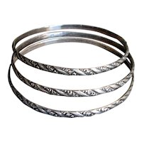 Set of Three Sterling Silver Bangles