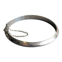 Chased Sterling Silver Bangle Bracelet