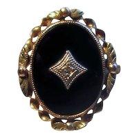 10K Victorian Onyx Ring with Diamond
