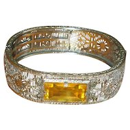 Art Deco Rhodium-Plated Bangle with Yellow Crystal