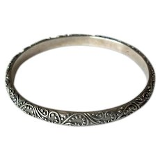 Hallmarked Sterling Bangle with Raised Design
