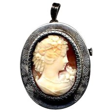 Shell Cameo Pin or Pendant in Engraved Sterling Mounting