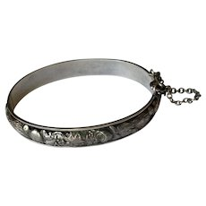 Antique Sterling Silver Repousse-Work Bangle Bracelet