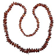 Graduated Natural Amber Bead Necklace