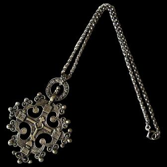 Vintage Cini Sterling Silver Cross Necklace