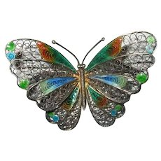 800 Silver Filigree Plique a Jour Enamel Butterfly Pin