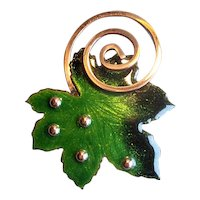 Matisse Green & Black Copper Enamel Leaf Pin