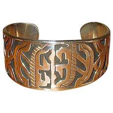 Heavy Mexican Silver Native Artisan Cuff Bracelet