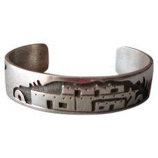 Sterling Native American Hopi Scenic Cuff Bracelet