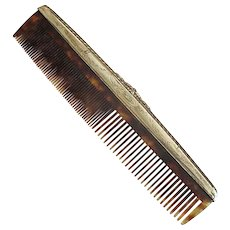 Faux-Tortoise Celluloid Comb with Sterling Silver Frame