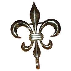 Sterling Silver Fleur-de-Lis Fob Pin